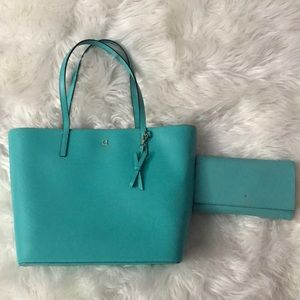 Matching Teal Kate Spade Purse and Wallet